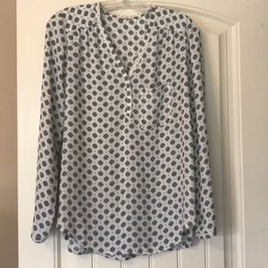 Pleione Patterned Pull-Over Blouse Size Small